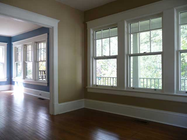 Craftsman Style Six Over One Windows Virtually Surround The Entire House This Is View From Dining Room
